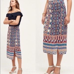 Anthropologie HD in Paris Olympia Silk Midi Skirt